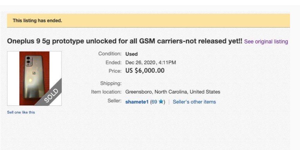 OnePlus 9 prototype eBay listing