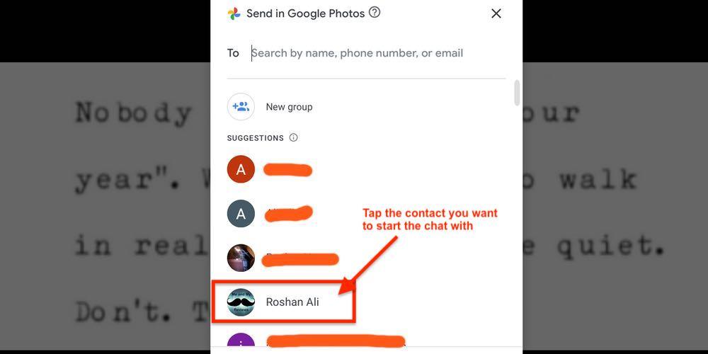 Google Photos Chat Tab Selecting Contact