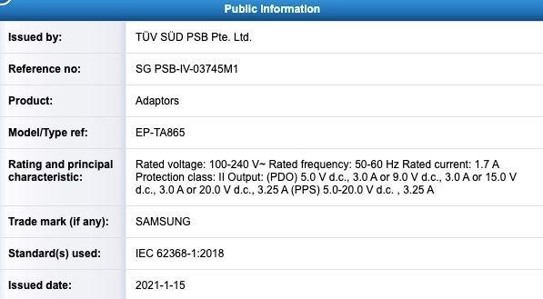 Samsung 65W Charger TUV Listing