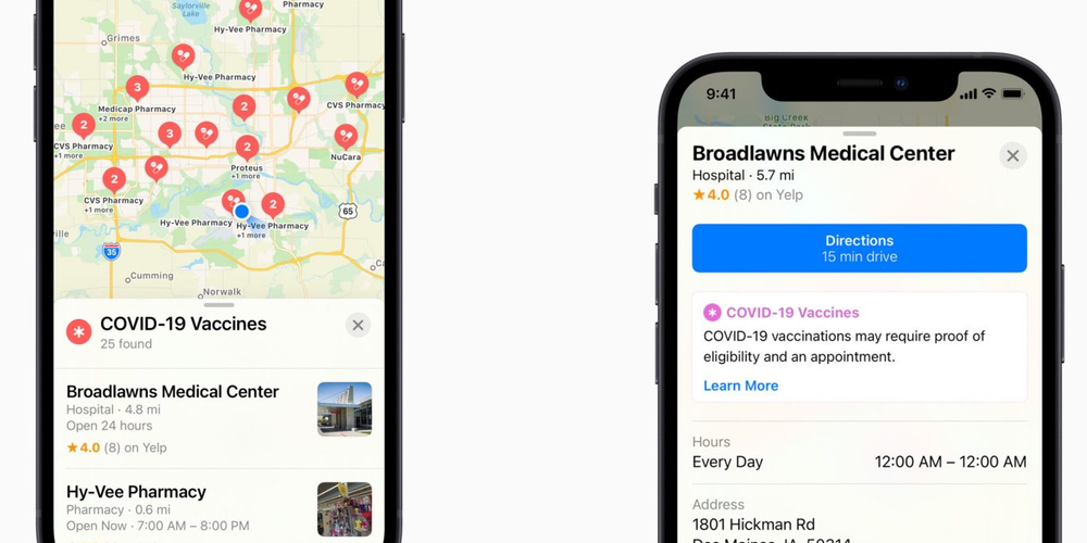 VaccineFinder Apple Maps and Google Maps