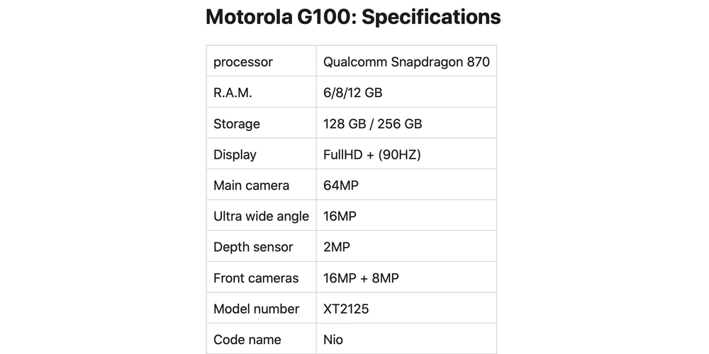 Moto G100 specifications