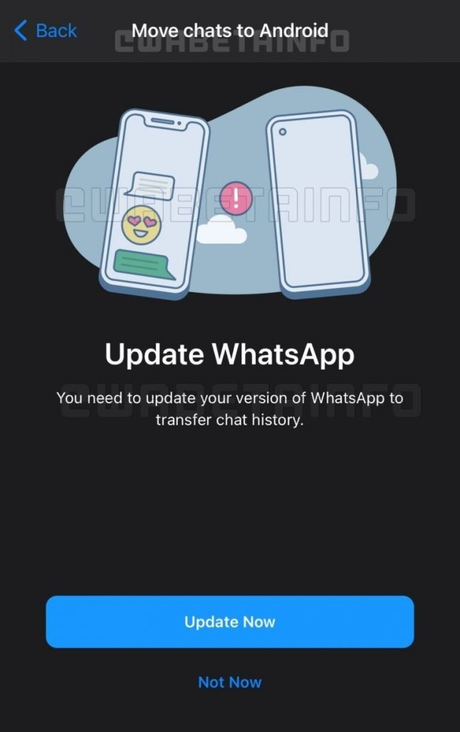 WhatsApp chat history migration feature