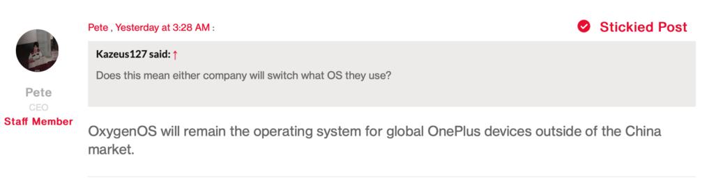 OnePlus forum Pete lau reply